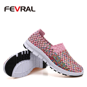 Image 4 - FEVRAL Brand Woman Woven Shoes Spring Flats Handmade Breathable Shallow Mouth Lazy Loafers Slip Resistant Soft Casual Shoes