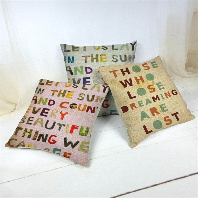 Cotton Linen Letter print Cushion Cover Rustic <font><b>Elegant</b></font> Car Pillowslip <font><b>Home</b></font> <font><b>Decoration</b></font> Pillowcase for Office Sofa 43x43cm