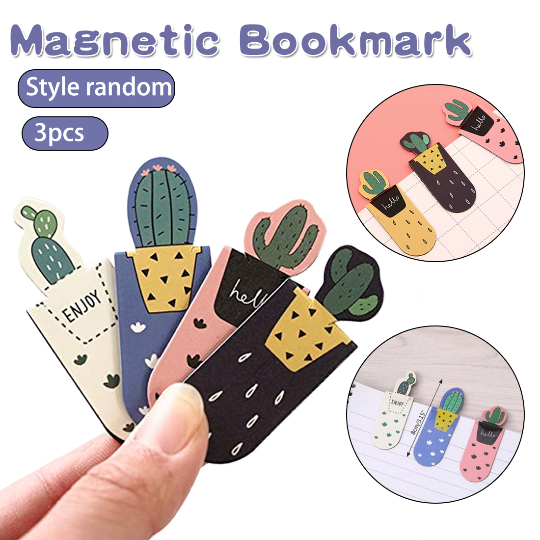 Cute Cactus Magnetic Bookmarks Random Style Books Marker Of Page Student Stationery Teacher Gifts