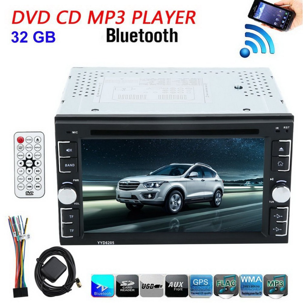 6.2 Inch 6205 Double 2Din Car Stereo DVD CD MP3 Player In Dash Bluetooth For Ipod Auto HD TV Radio Video Audio Camera Parking