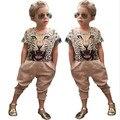 2PCS Fashion Baby Girls Summer Clothing Suit 3D Tiger Print Short Sleeve T-shirt + Pants Set Vetement Enfant Fille Girl Clothes