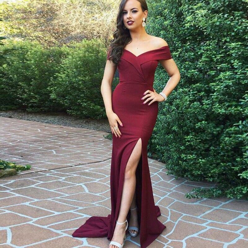 2019 Sexy Burgundy Mermaid   Prom     Dress   Backless Satin Slit Off The Shoulder Evening Floor Length Vestidos De Festa Party