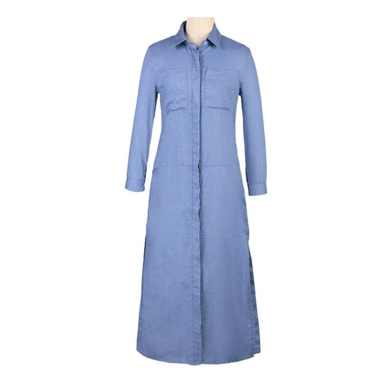 Plus Size Maxi Dress Autumn Winter Women Tunic Long Sleeve Casual Demin Long Boho Dress Runway Hippie Chic Clothing mp180