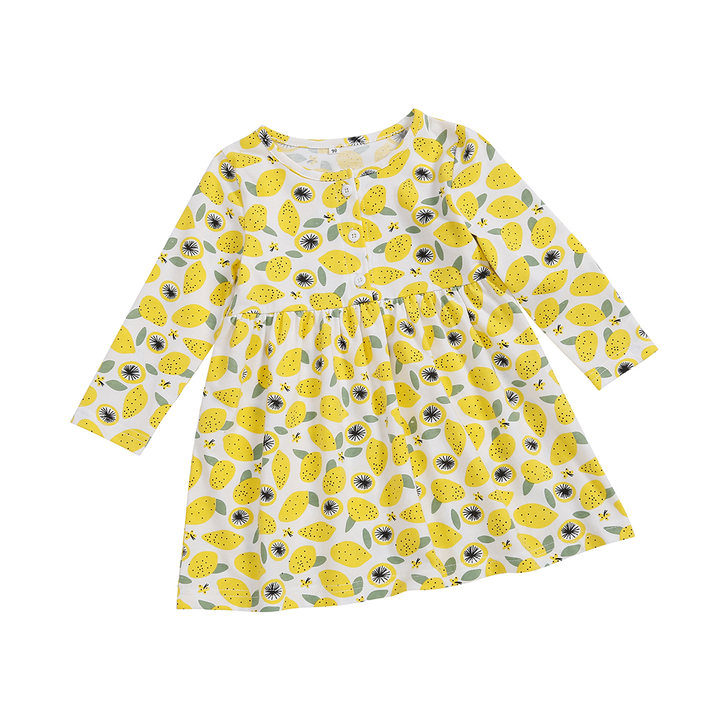 Yoyoxiu Autumn New Casual Girls Dress Long Sleeve Lemon Print Princess Dress For Party And Wedding in Dresses from Mother Kids