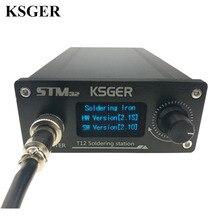 KSGER Estación de soldadura OLED T12 ILS, herramientas electrónicas de hierro STM32 2,1 S, controlador de temperatura, soporte de mango, 220V