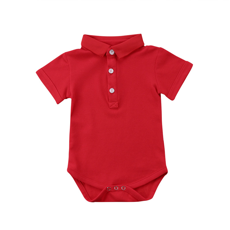 2018 Newborn Baby Summer Short Sleeve Rompers Bebe custume Polo Turn Down Collar baby boy Girls Solid color jumpsuits Overalls slim fit turn down collar colored plaid lining solid color shirt for men