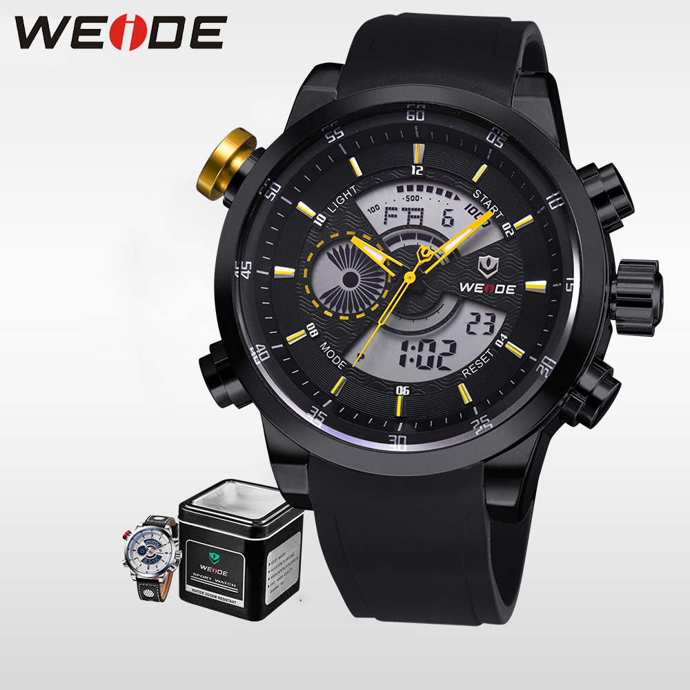 WEIDE Genuine Luxury Brand Men Sports Watches Digital Military Watch Waterproof Men Fashion Casual Wristwatches Alarm Clock 3401 cjiaba gk8001 w pu leather band analog skeleton mechanical wrist watch for men black white