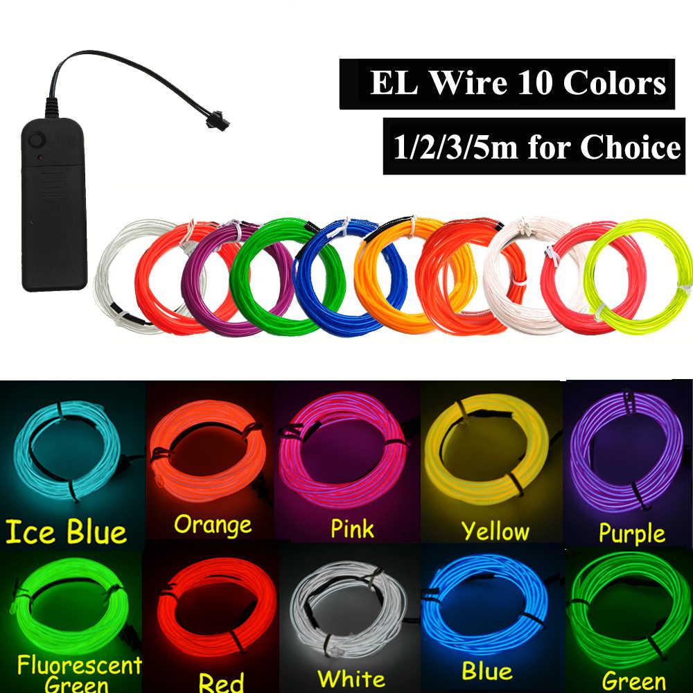 El wire światłowód neonowy imprezowa ozdoba do tańca światła samochodowe neonowe listwy led elastyczne 2.3MM string DIY rura linowa taśma na święta decor