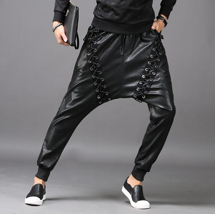 Black personality fashion slim harem pants mens leather trousers pantalones hombre cargo feet pants for men pantalon homme