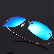 Rimless Polarized Sunglasses for Men Driving Mens Rectangular Vintage Sun Glasses For Men/Women Titanium Frame
