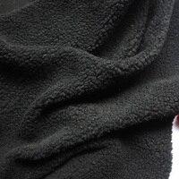 Zwarte Berber Fleece Pluche Stof Doek Handgemaakte Poppen Voering Doek Lam bont 60