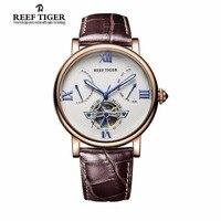 Reef Tiger 2017 brand Tourbillon Designer Watch Quality Swiss Calfskin Leather Watches for Men waterproof relogio masculino