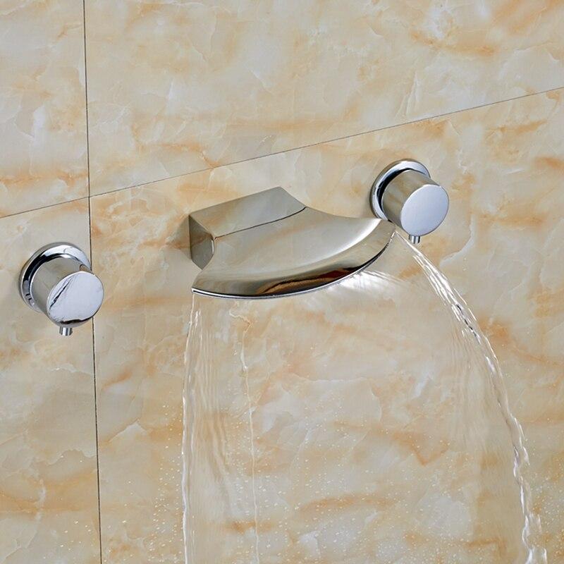 Widespread Waterfall Spout Bathroom Vanity Sink Mixer Tap Tub Vanity Sink Chrome