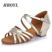 HROYL Ballroom Tango Latin dance shoes low heels dancing for kids girls children women ladies free shipping in stock 601