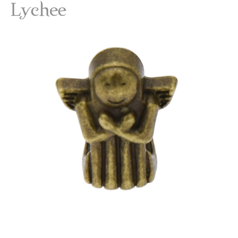 Lychee 10pcs Vintage Alloy Copper Color Hair Braid Dread Dreadlock Beads Angle Skull Shape Clips Cuff Headwear Jewelry Men Women