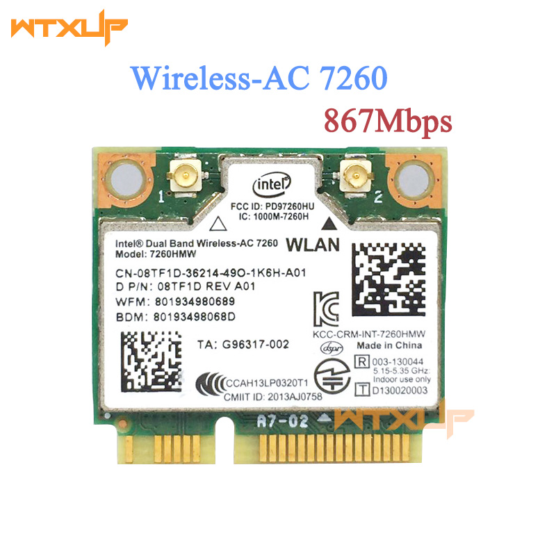 WTXUP For Intel 7260 7260AC 7260HMW 2.4&5G 867M Bluetooth 4.0 Mini PCIe WiFi Wireless Network Card(China)