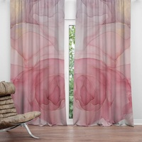 Fashion Red watercolor rose curtain living room Semi shading curtain polyester custom made 2.5m 2.7m bedroom curtain