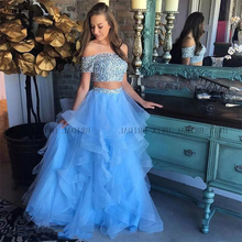 Sky Blue Long Prom Dresses 2019 New Boat Neck Off The Shoulder Two Pieces Ruffles Skirt Plus Size Party Dress Custom Made