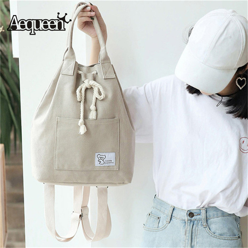 Canvas Bag Multifunction Handbags Shoulder Bags Printing Dual Bucket Bag Drawstring Handle Bolsos Mujor