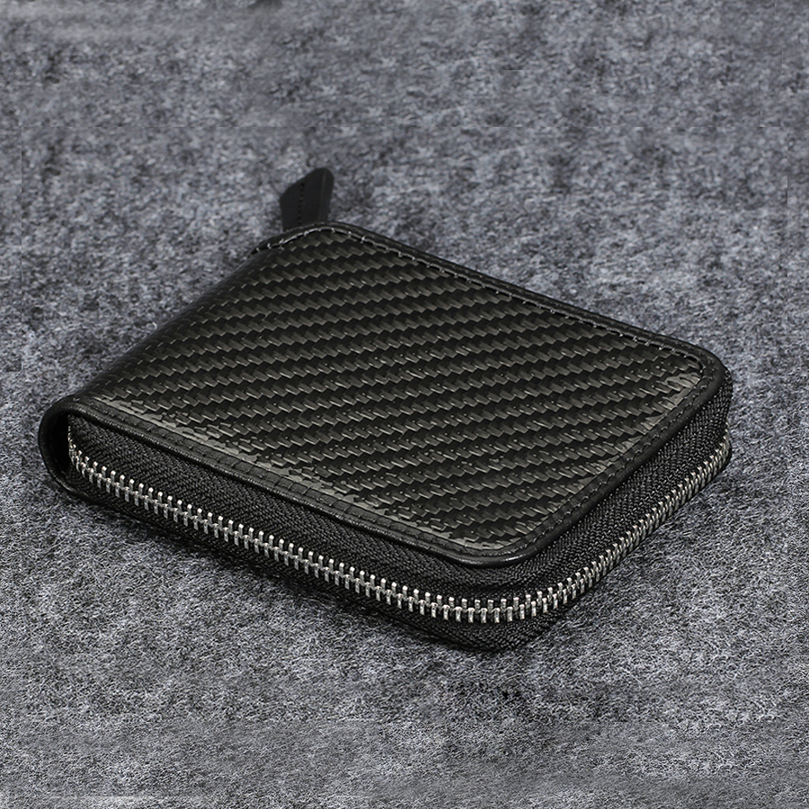 100% Carbon Fiber Leather Zipper Wallet Amazing Novelty Design Purse Black Vegetage Tanned Leather Inside Short Women Coin Purse