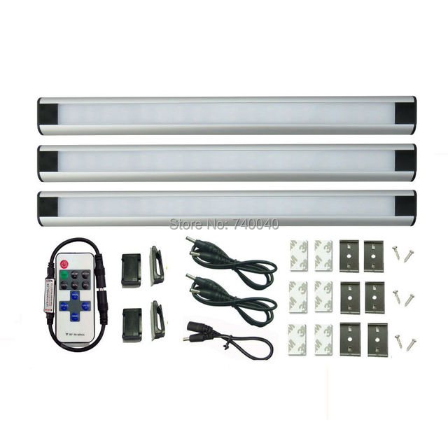 3 Panels Daylight Led Under Cabinet Lighting Wireless Rf Dimmer Remote Control Milk Cover Kitchen Cupboard