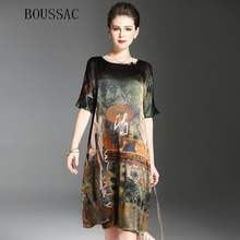 09c25a927 Vintage Ethnic Painting Design Dress Women Summer Half Sleeve Soft Silk  Dresses Elegant Woman Brand Vestidos O-Neck Plus Size