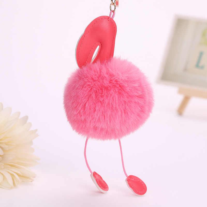 Fantasia & Saco de Fantasia Moda Feminina Fofo Pom Rosa Flamingo do Anel Chave de Cadeia Bolsa saco Titular Chaveiro Pingente de Acessórios de Carro presente