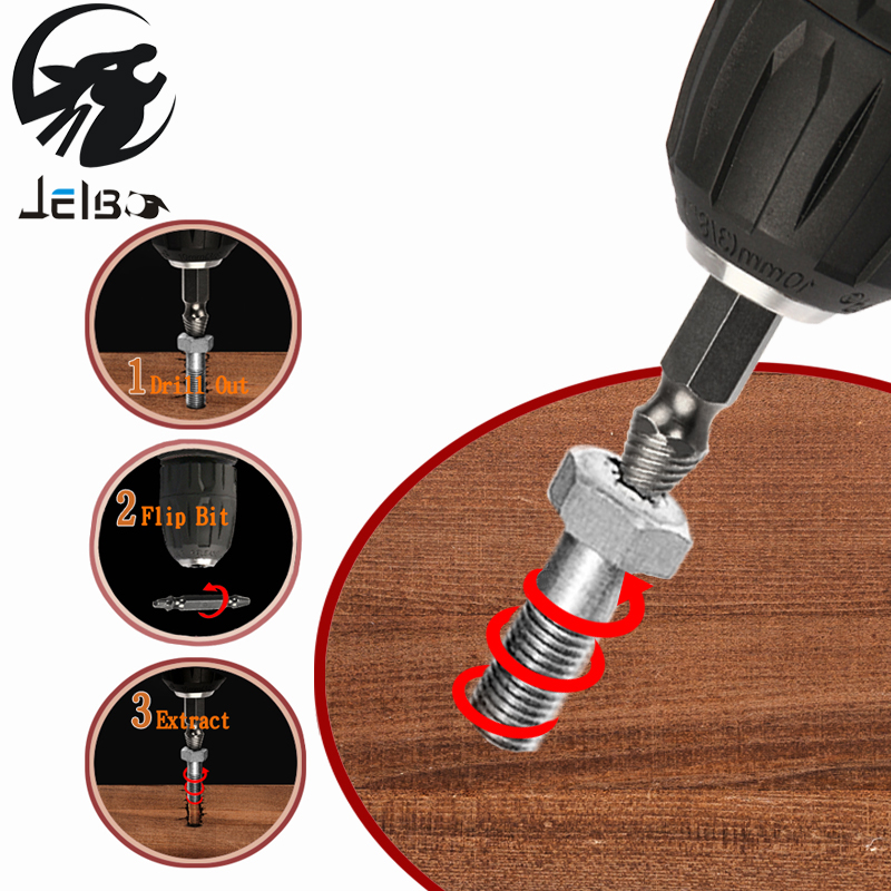Jelbo 4PC Drill Bit Power Tools Drill Bit Hand Tools Double Side Damaged Screw Extractor Drill Bits Set Tools Out Demolition jelbo cone step drill hole tools countersink 3pc drill bit set power tools step drill bit for metal power tools set hole cutter