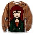 Mujeres hombres 3D sudaderas de dibujos animados Daria cuello redondo jerseys del equipo del otoño del resorte del traje SWEAT tops Pullover sudadera Jumper sweater