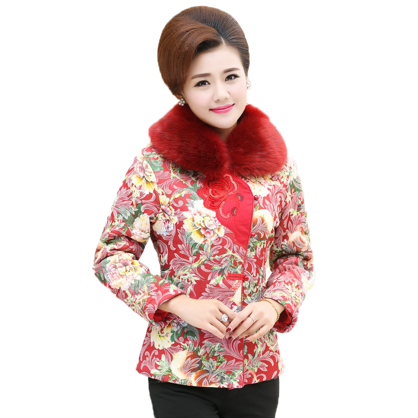 WAEOLSA Oriental Woman Winter Basic Coat Red Green Purple Pattern Puffer Coats Fur Collar Quilted Jacket
