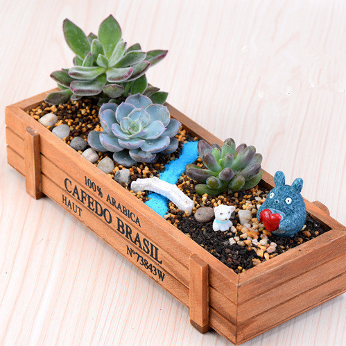 ZAKKA Wood Retro do old Square Flower Pots, meaty plant, woody, floral organ Containers Wooden Box,Free Flower Pots Planters 001