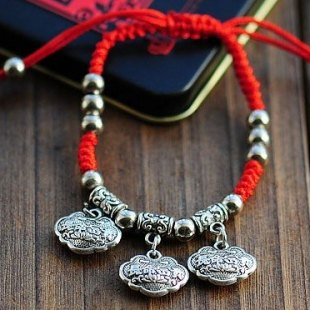 National Trend Bracelets Tibetan Silver For Lovers Red String, New Fashion Vintage Jewelry Accessories Wholesale