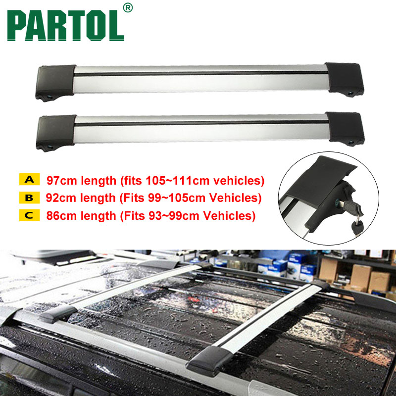 Partol <font><b>Car</b></font> Roof Rack Cross Bars Roof Luggage Carrier Roof Rail Top Boxes Snowbord Bike Carrier Rack With Anti-theft Lock System