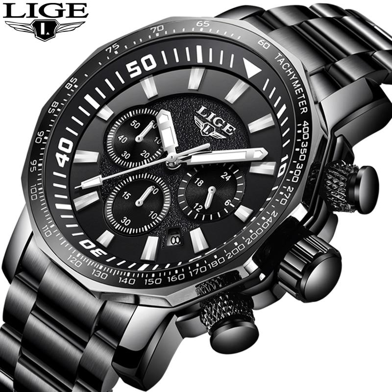 все цены на Relogio Masculino LIGE Mens Watches Top Brand Luxury Quartz Watch Men Full Steel Casual Military Watches Waterproof Sport Watch