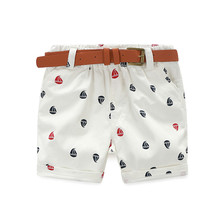 Mudkingdom Kids Boys Shorts Ship Print Clothes Summer Short Pants With Faux Leather Belt Bermuda Menino