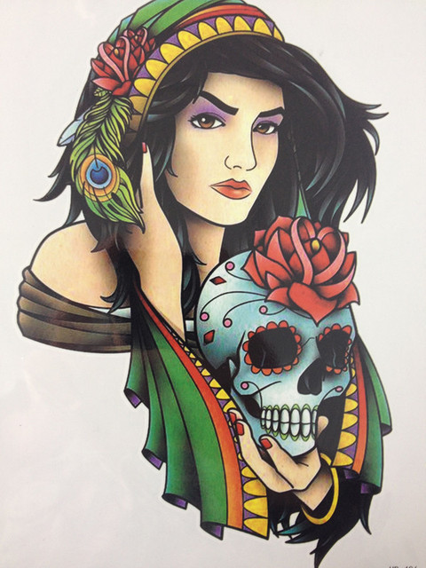 21 X 15 CM Beautiful Girl Take Skull Sexy Cool Beauty Tattoo Waterproof Hot Temporary Tattoo Stickers#115