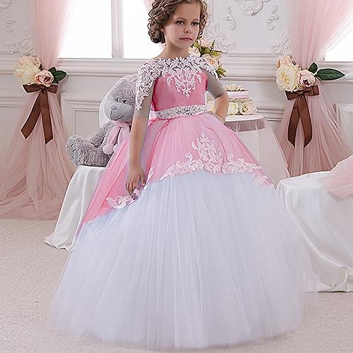 Champaña elegante vestido de la muchacha de la flor con la cinta Beige arco Crew Neck vestidos de la bola de malla niños vestidos de comunión para la Navidad 2 14 - 4