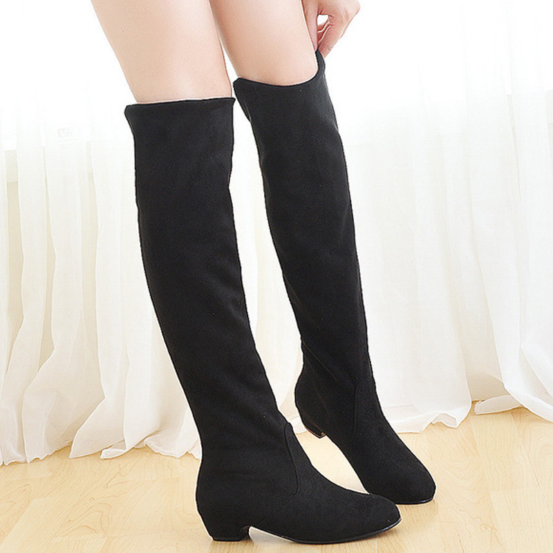 Spring Autumn Slip On Over The Knee Boots Fashion Women Thigh High Suede Boots Ladies Ladies