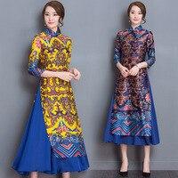 Ao Dai Japanese Japanese Direct Selling Cotton Women Ao Dai Yukata 2019 New Winter High end Vietnam Aodai Cheongsam Dress