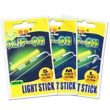Clip On! 20Pcs(10bags) XL L M Night Fishing Lighting Stick Wand Green chemical glow stick fishing light FU020