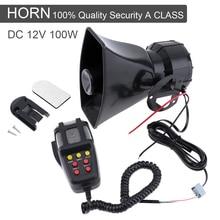 Купить с кэшбэком 100W 12V Auto Car Motorcycle Vehicle Warning Siren Alarm Loud Horn Police Firemen Ambulance Loudspeaker 7 Sound Tone with MIC