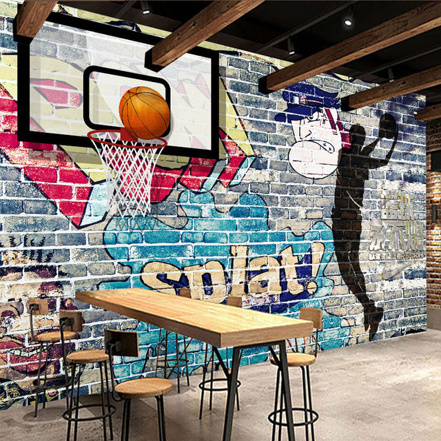 Custom Mural Wallpaper Abstract Graffiti Art Brick Wall Basketball ...
