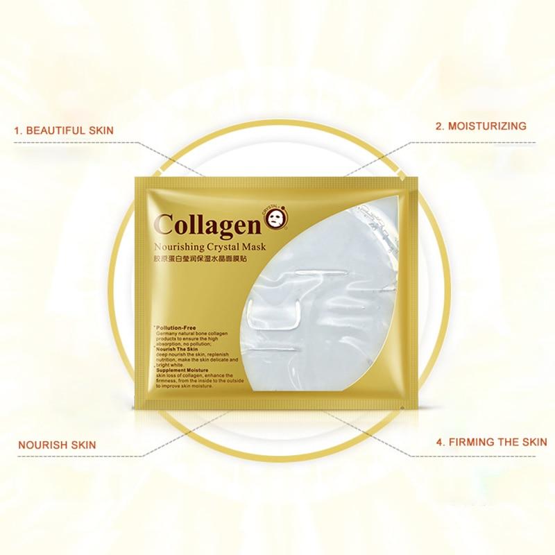 Bioaqua 24 24k ゴールドコラーゲンフェイスマスククリスタルゴールドコラーゲンフェイシャルマスクマスク保湿美白アンチエイジングスキンケア韓国マスク  グループ上の 美容 & 健康 からの トリートメント & マスク の中 3
