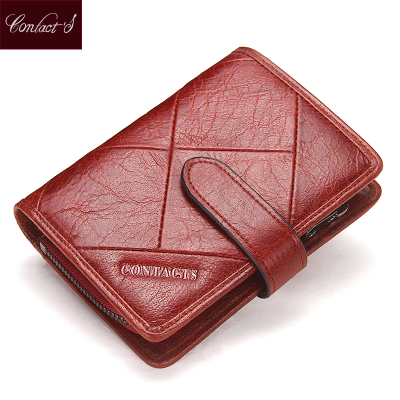 Contact's 2018 New Vintage Women Wallets Female Genuine Leather Womens Wallet Zipper and Hasp Design With Coin Purses Pocket wallet female long zipper womens wallets and purses fashion solid genuine leather female wallet hasp women wallets coin purse
