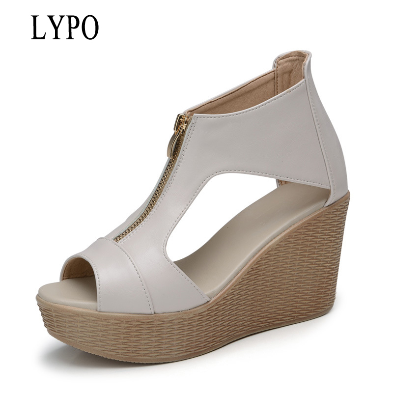 LYPO 2018 summer new simple women's wedges sandals fish head wedges sandals waterproof platform women shoes phyanic 2017 gladiator sandals gold silver shoes woman summer platform wedges glitters creepers casual women shoes phy3323