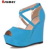 Asumer/Новое поступление женские босоножки элегантные туфли с открытым носком из искусственной кожи обувь на танкетке с пряжкой большие разме...