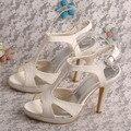 Personalizado para Fazer a Plataforma Sandálias de Casamento Nupcial Do Laço Do Marfim Sapatos De Noiva Saltos Dropshipping
