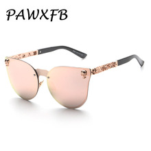 PAWXFB Classic Fashion Cat Eye Women Sunglasses Men Alloy Steampunk Sun Glasses Female Gradient Mirror Gafas de sol Shades