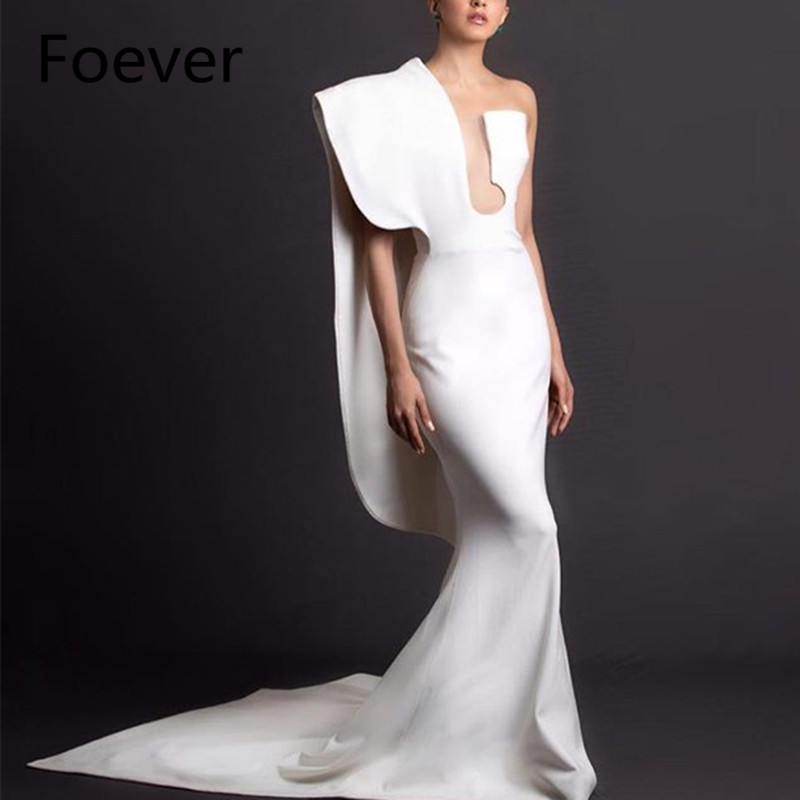 Elegant Mermaid White   Evening     Dress   2019 Vestido de fiesta Special Design One Shoulder Lady Prom Party Gowns