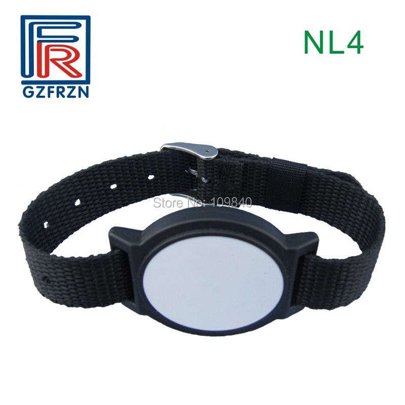 100pcs/lot 125khz TK4100(EM4100) RFID nylon wristband bracelet for E-ticket Amusement Park VIP member survival nylon bracelet brown